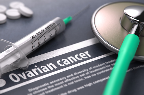 Ovarian cancer - Printed Diagnosis on Grey Background.
